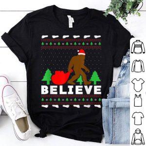 Premium Christmas Santa Bigfoot BELIEVE Bigfoot Ugly Christmas shirt