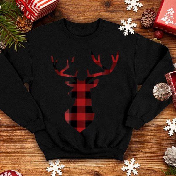 Premium Red & Black Buffalo Plaid Flannel Christmas Deer sweater