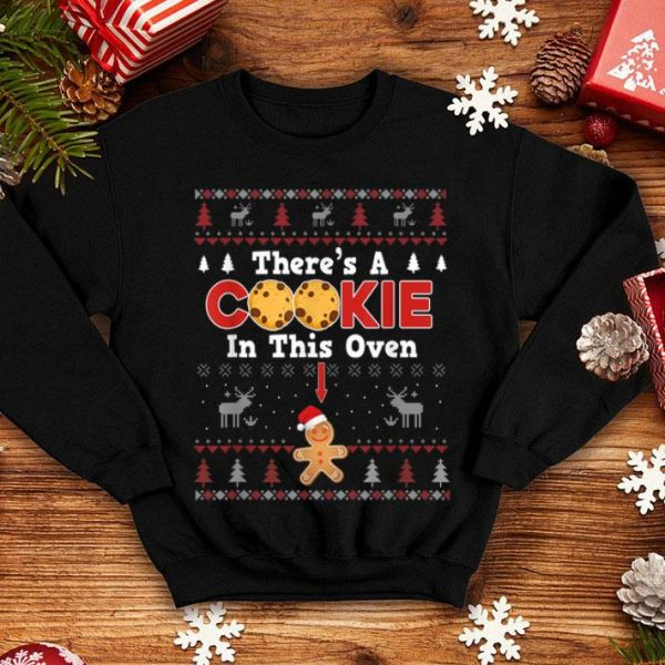 Premium Xmas Couple Matching There's A Cookie In This Oven Pregnancy shirt