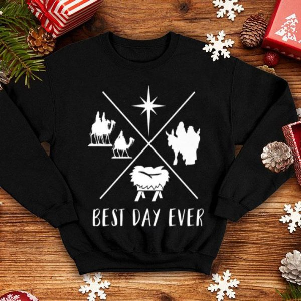 Pretty Modern Nativity Scene Best Day Ever Christmas sweater