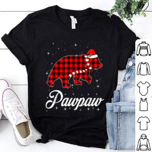 Pretty Red Plaid Pawpaw Bear Buffalo Matching Family Christmas shirt