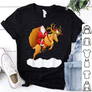 Pretty Santa Claus Riding Reindeer Christmas Boys Girls Kids Xmas shirt