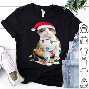 Top Christmas Calico Cat Gift - Calico cat Funny Santa Hat Xmas shirt