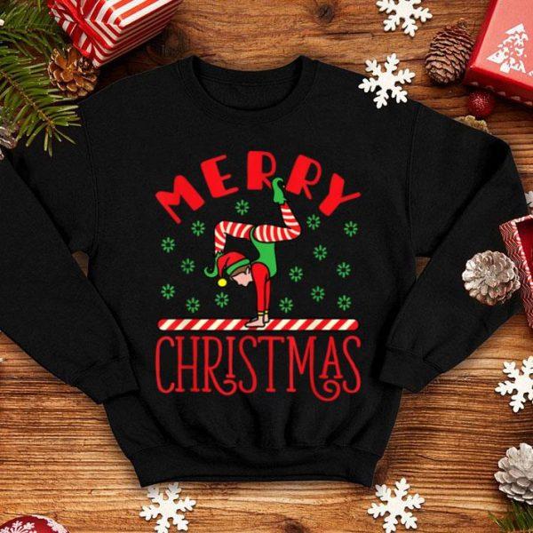 Top Gymnast Elf on Balance Beam - Xmas Gymnastics Christmas shirt