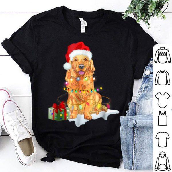 Top Santa Golden Retriever Christmas Lights Xmas Gift shirt