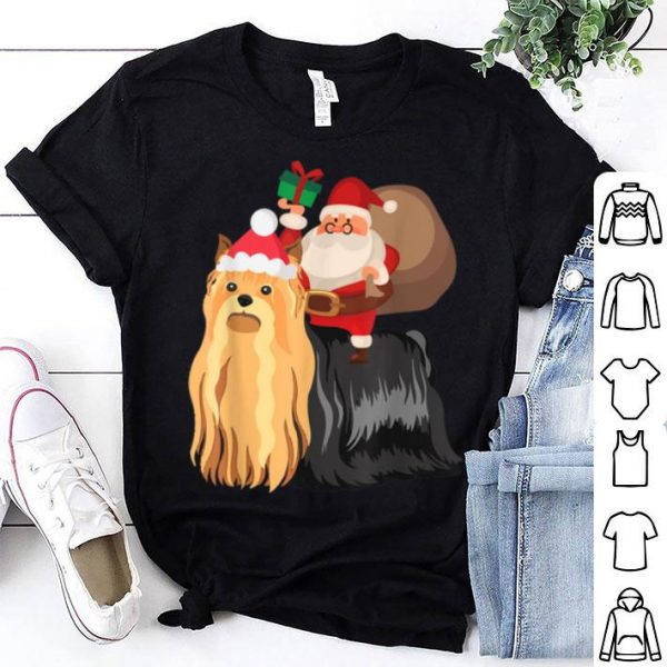 Awesome Santa Riding Yorkshire Terrier Christmas Pajama Gift sweater