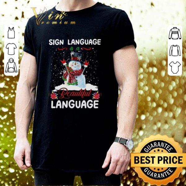 Cheap Snowman sign language beautiful language Christmas shirt