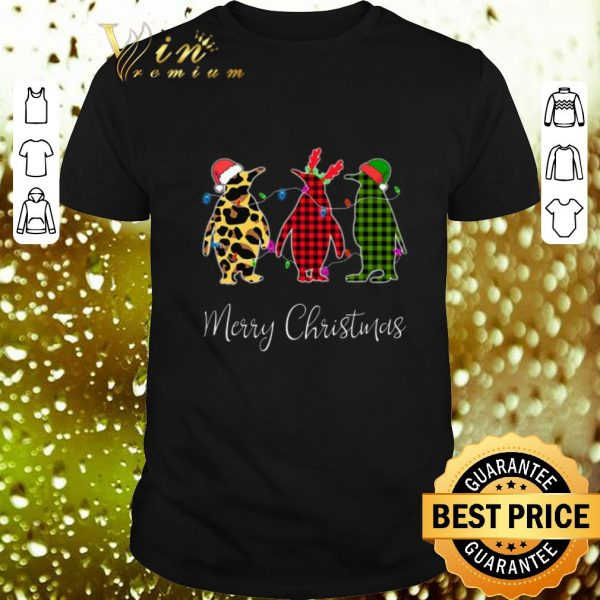Funny Penguin Merry Christmas leopard plaid shirt