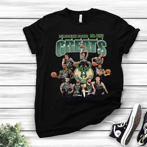 Milwaukee Bucks All-time Greats NBA Players Team Signatures shirt