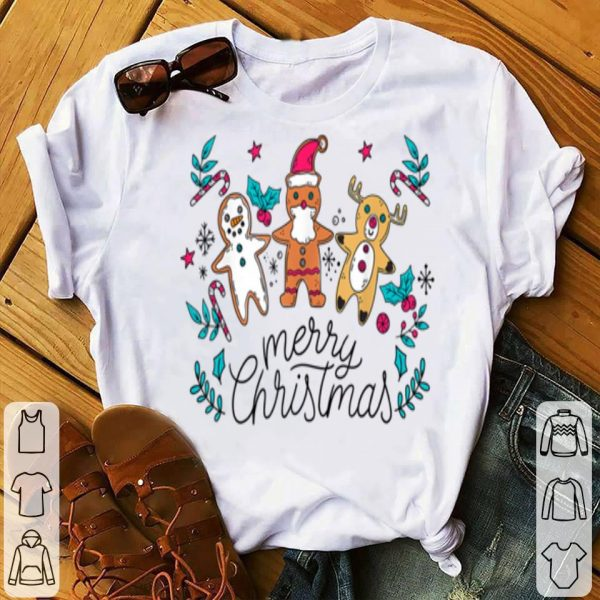Pretty Gingerbread Santa Reindeer Snowman Christmas Xmas Holidays sweater