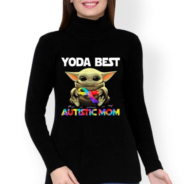 Tie Dye Ribbon Baby Yoda Best Autistic Mom shirt