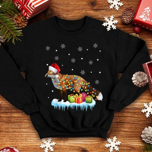 Top X-Mas Fox Christmas Lights Funny Wild Animal Design Gift sweater