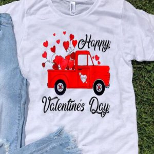 Vintage Red Truck Heart Love Happy Valentine's Day shirt