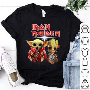 Baby Yoda And Baby Groot Play Guitar Iron Maiden shirt