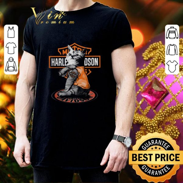 Funny Cat tattoo Motor Harley Davidson Cycles shirt