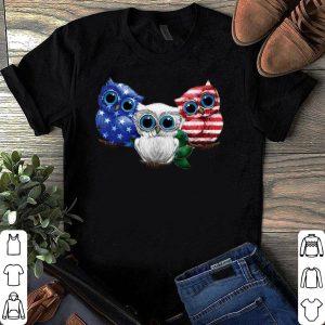 Owl blue white red American flag shirt