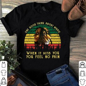 Vintage bob marley iron lion zion one good thing about music when it hits you you feel no pain shirt