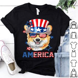 America Corgi Dog 4th of July USA Flag shirt