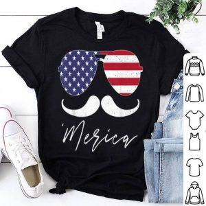 American Flag July 4th Sunglasses Mustache shirt