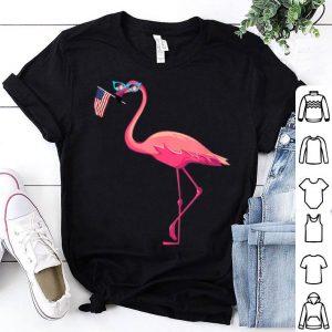 American Flag Pink Flamingo Patriotic 4th of July shirt