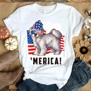 American Flag Usa 4th Of July Maltese Dog Shirt