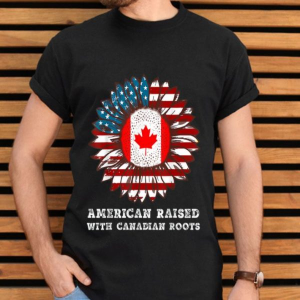 American Raised With Canadian Roots Sunflower USA Flag shirt
