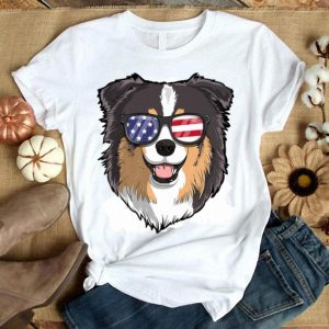 Australian Shepherd Dog Patriotic Usa 4th Of July American Premium Shirt