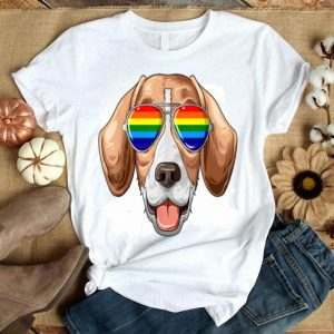 Beagle Gay Pride Flag Lgbt Rainbow Sunglasses Beagle Shirt