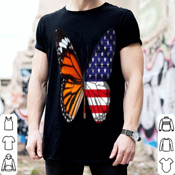 Butterfly American Flag Patriotic 4th Of July shirt