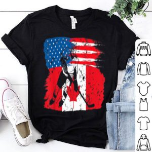 Canadian Flag And Hockey Canada Day American Flag Shirt