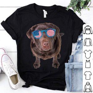 Chocolate Lab American Flag Dog 4th Of July Shirt