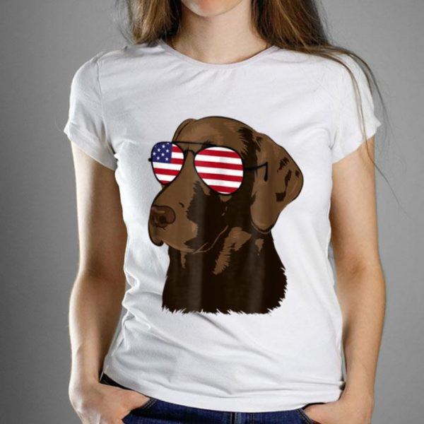 Chocolate Lab American Flag Dog 4th Of July Shirt