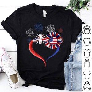 Heart Sunflower Bee American Flag Firework Happy Independence Day 4th Of July shirt