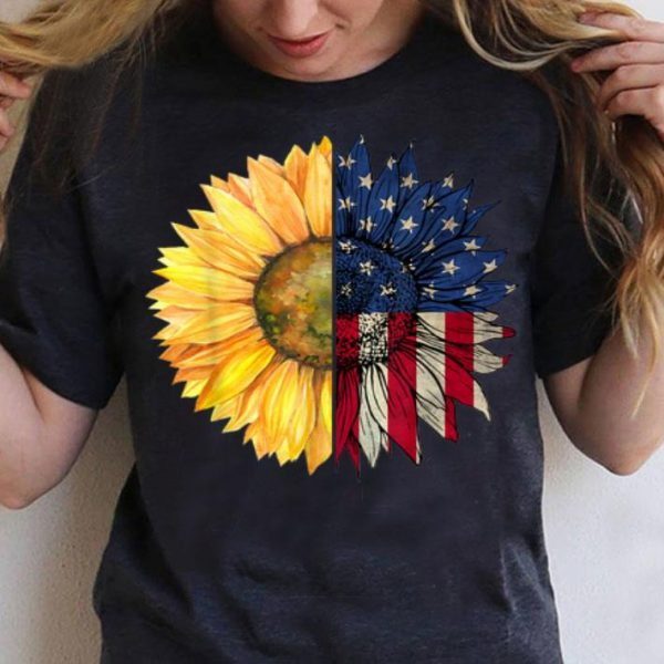 Independence Day Sunflower American USA Flag 4th Of July shirt