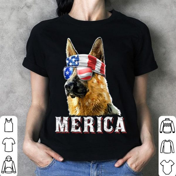 Merica German Shepherd Dog 4th Of July American Flag Shirt