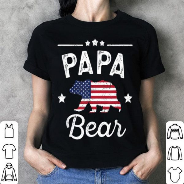 Papa Bear Patriotic Flag Matching 4th Of July Shirt
