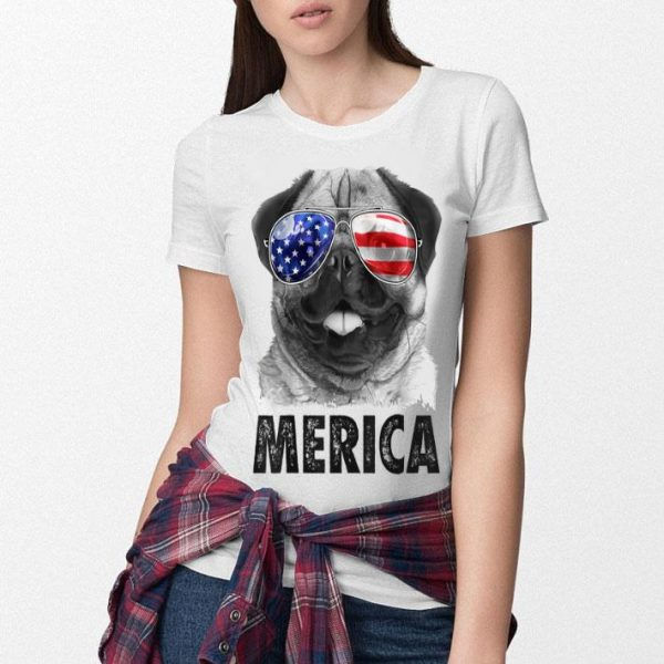 Pug 4th Of Julys Merica Men Women Usa American Flag Shirt