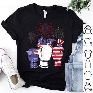 Red White Blue Boxing USA Flag Firework 4th Of July shirt
