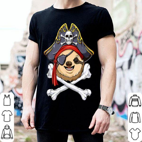 Sloth Pirate Jolly Roger Flag Skull And Crossbones shirt