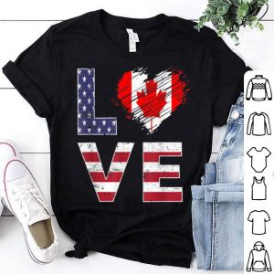 USA Canada Flag Heart Canadian American Flag shirt