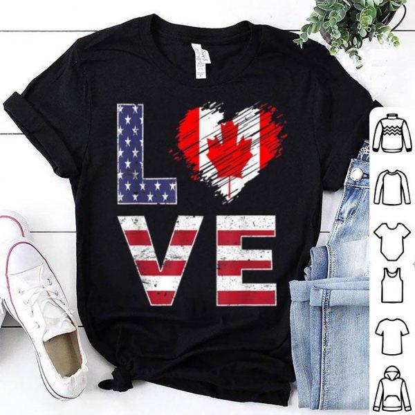 USA Canada Flag Heart Canadian American Flag shirt