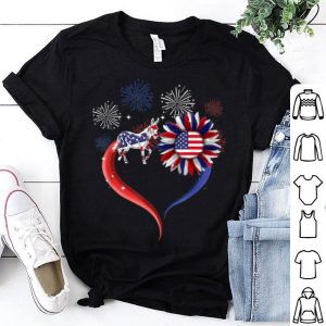 USA Flag Firework 4th Of July Heart Sunflower Donkey shirt