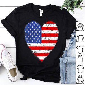 USA Flag Heart 4th July Red White Blue Stars Stripes Shirt