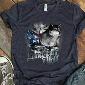 Vintage Patriotic Wolf American Flag 4th Of July shirt