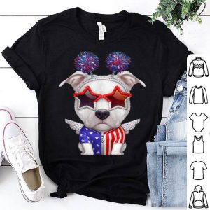 White Pit Bull Terrier With The Angel Wings USA Independence Day shirt