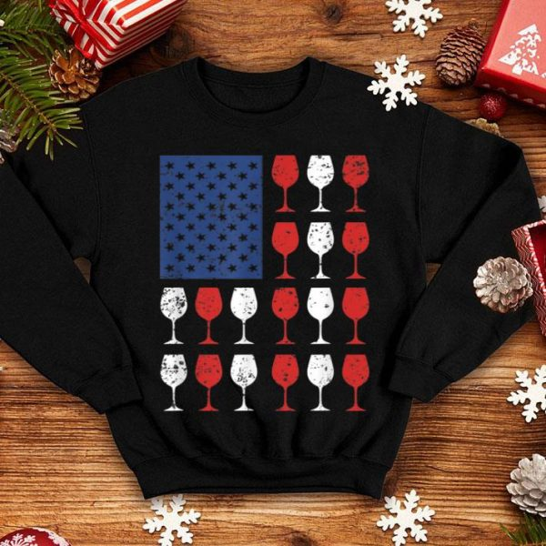 Wine Glasses American Flag USA 4th of july shirt