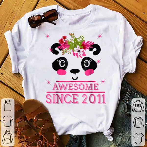 8th Panda, Pink Flower Awesome Since 2011 - Bday shirt