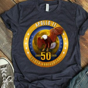 Apollo 11 Golden 50th Anniversary Eagle and Moon Tee shirt
