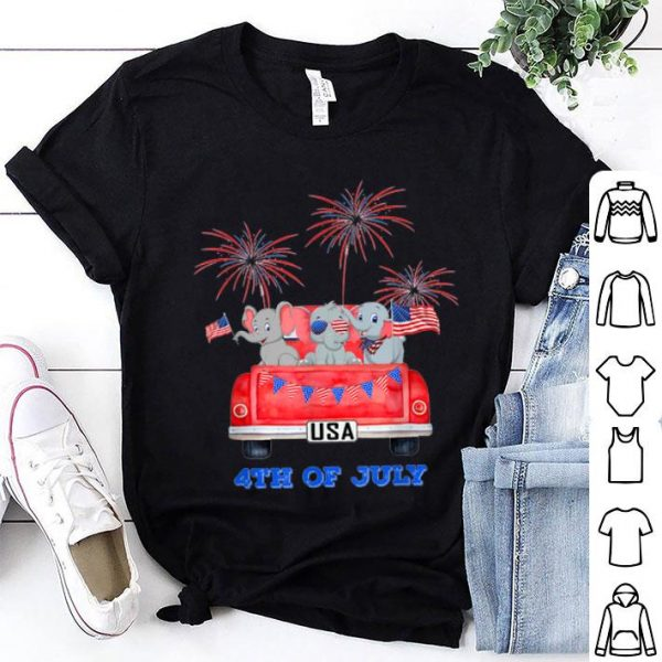 Baby Elephant Car 4th Of July American Flag shirt