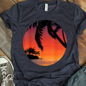 Beach Sunset Retro Dusk Summer Tropical Beach Lover shirt